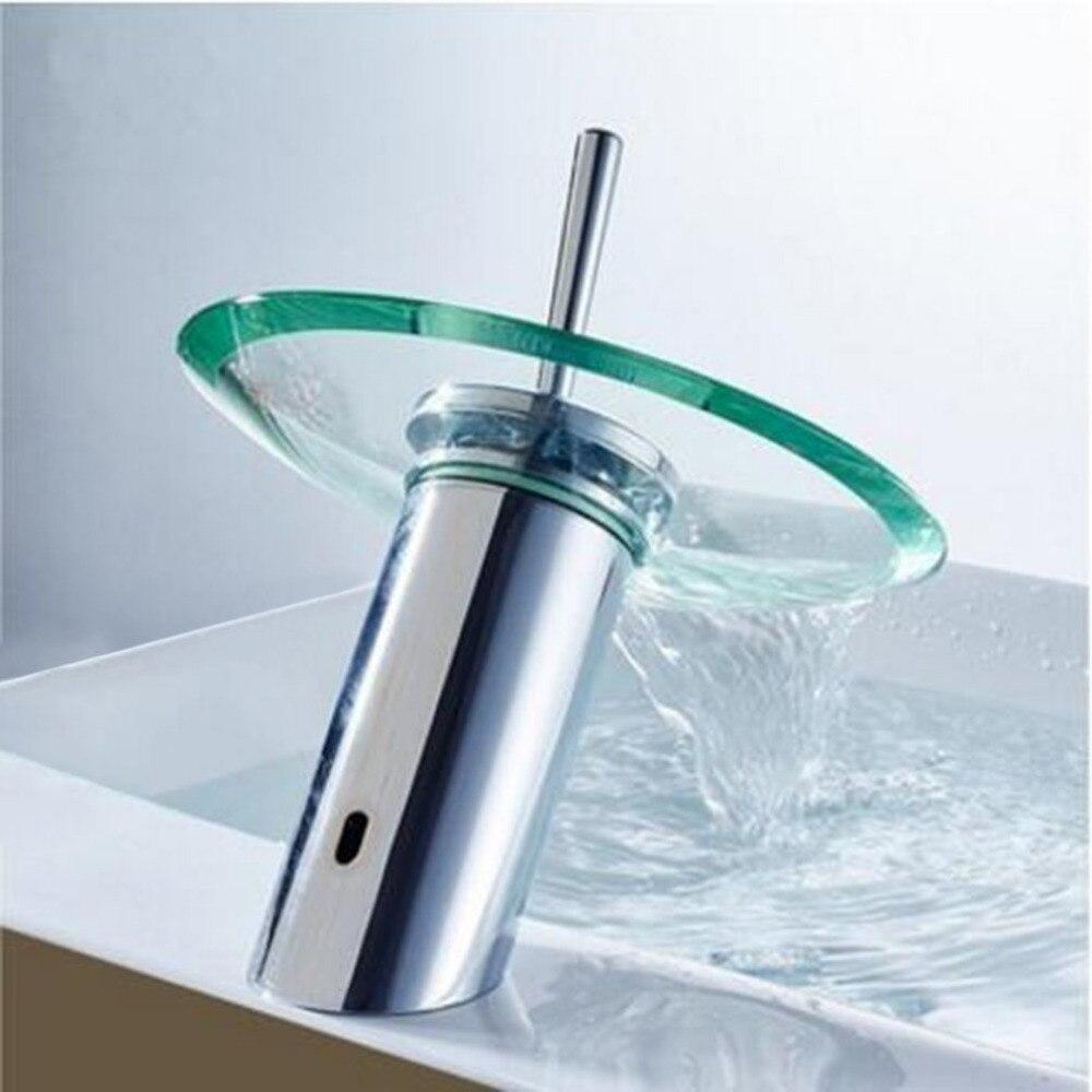 Vidrio cascada baño cocina redondo fregadero cascada grifo de latón ...