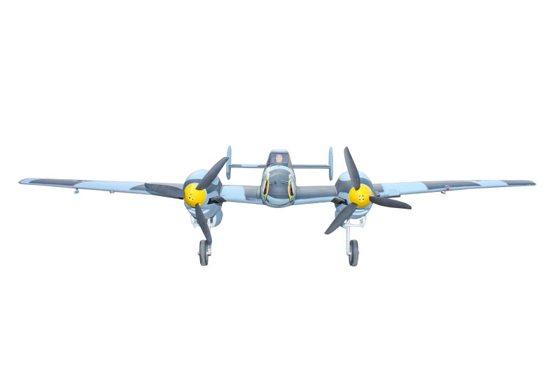 Dynam 1500MM Messerschmitt BF-110 Propeller RC RTF Plane W/ Motor Servos ESC Battery