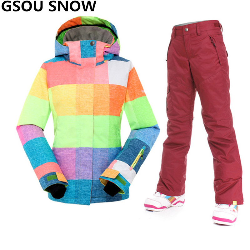 Gsou Snow Winter Ski suit women warm waterproof 10K snowboard jacket women+ski pant outdoor snow snowboarding suits skiing Sets ski jacket women ski pant windproof waterproof snowboard suits snow wear ladies ski jacket sets outdoor suits