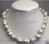 Free Shipping >>>Large 15 23mm White Unusual Baroque Pearl Necklace disc Clasp 18