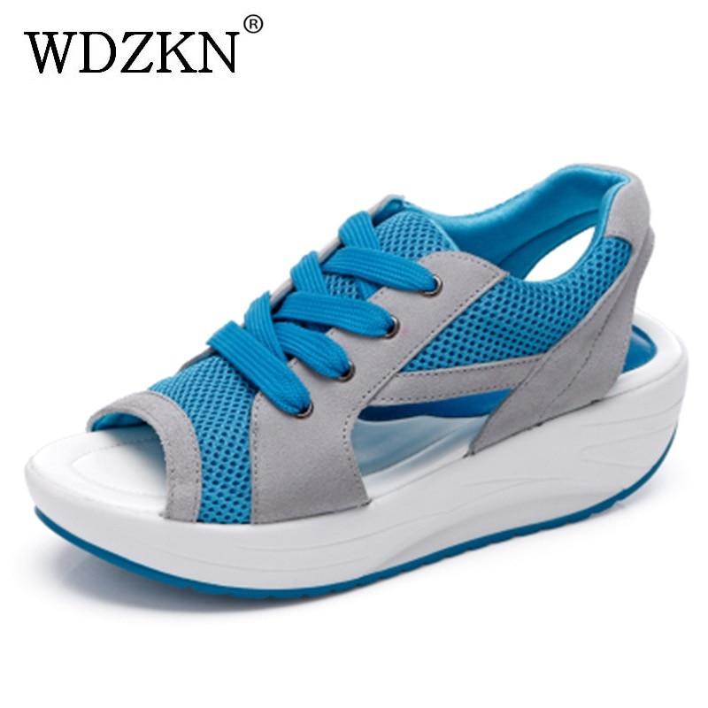 WDZKN Dámské sandály Nové pohodlné hrubé dno Casual Swing boty Ženy Open Toe Chudnutí Summer wedges Plošinové sandály