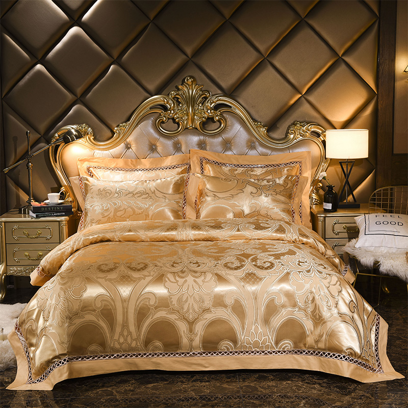 Luxury Golden Silver Jacquard Satin Bed set 4pcs Silk Cotton Bedding sets Queen King Duvet Cover Bed sheet linen Pillowcases