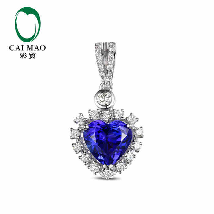 18KT/750 White Gold 2.35 ct Natural IF Blue Tanzanite AAA 0.50 ct Full Cut Diamond Engagement Gemstone Pendant Jewelry