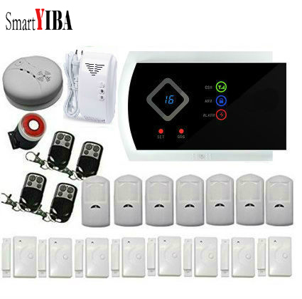 SmartYIBA Wireless Wired GSM SMS Home Burglar Security Alarm System Gas Smoke Fire Sensors Spanish Russian French Cezch Voice