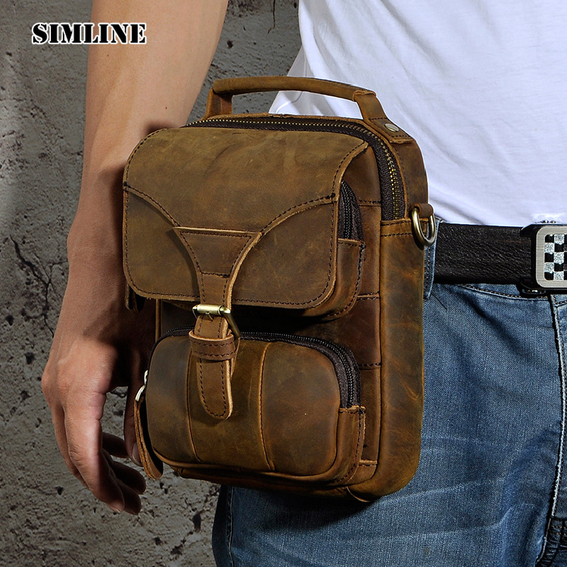 SIMLINE Vintage Casual Genuine leather Cowhide Men Mens Waist Pack Small Shoulder Messenger Bag Bags Handbag Handbags For Man simline 2017 vintage genuine crazy horse leather cowhide men men s messenger bag small shoulder crossbody bags handbags for man