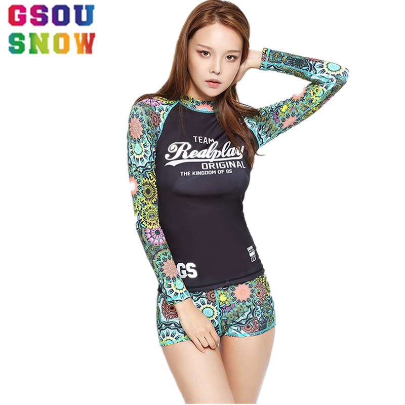 GSOU SNOW Brand Women Long Sleeve Wetsuit Quick Dry Ladies Rash Guards Beach Surfing Swimsuit High Elasticity Triathlon Swimwear цена