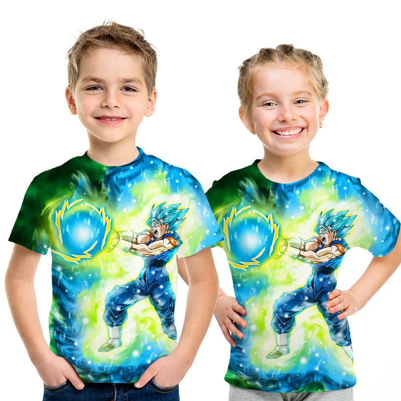 New Children 3D T-shirt Dragon Ball Z Ultra Instinct Goku Super Saiyan God Blue Vegeta Printed Cartoon Summer Boys Girls T Shirt