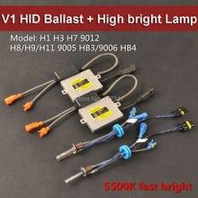 35 Вт V1 Быстрый Яркий HID Xenon Балласт + Высокое Яркое Ксенона лампы H1 H3 H7 H8/H9/H11 9005/9006 9012 5500 К для Фар 2 шт./лот