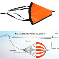 PVC Sea Anchor Trolling Drogue Sail Drift BrakeDrogue With Tow Rope Line Buoy Ball Float Leash Suit Boat Yacht Kayak Dinghy