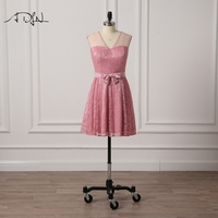 ADLN Cheap V Neck Sleeveless Lace Cocktail Party Dress Short Dresses For Prom A Line Knee