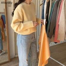 סוודרי נשים מוצק O צוואר חם פשוט אלגנטי סטודנטים קוריאני סגנון פנאי נשי רופף Kawaii נשים סוודרים באיכות גבוהה