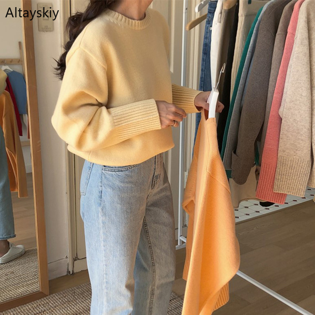 Pullovers Women Solid O Neck Warm Simple Elegant Students Korean Style Leisure Female Loose Kawaii Womens High Quality Pullover