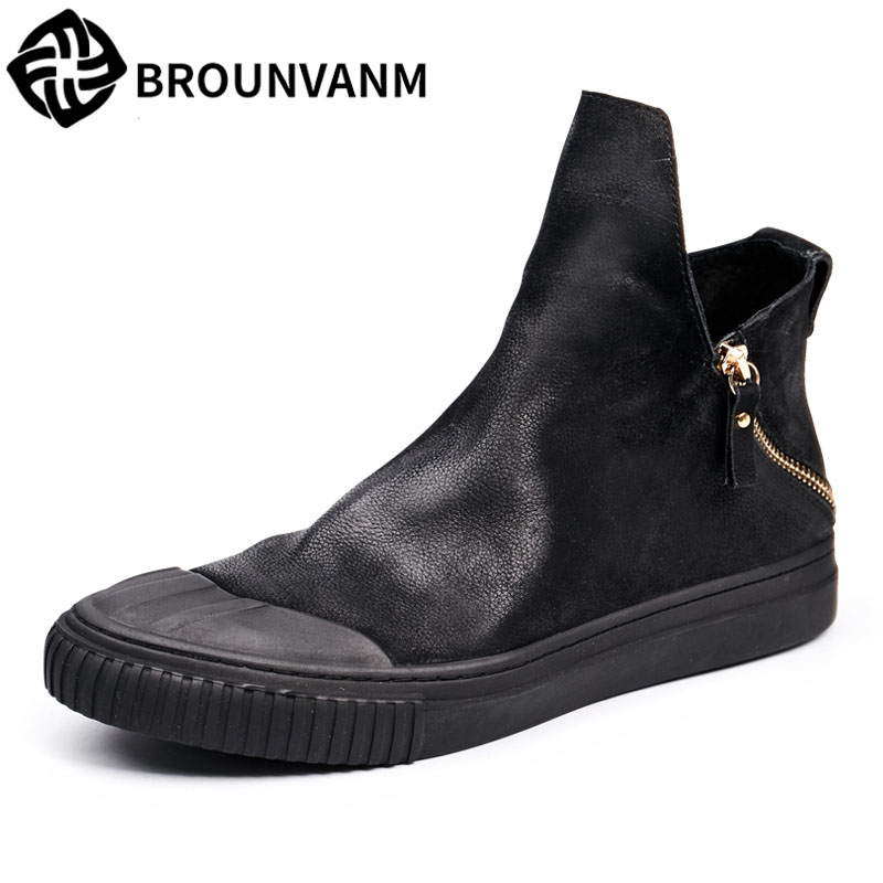 new autumn winter British high shoes retro male nubuck leather casual boots flat double zipper head breathable fashion boots 2017 new autumn winter british retro men shoes leather shoes breathable fashion boots men casual shoes handmade fashion comforta