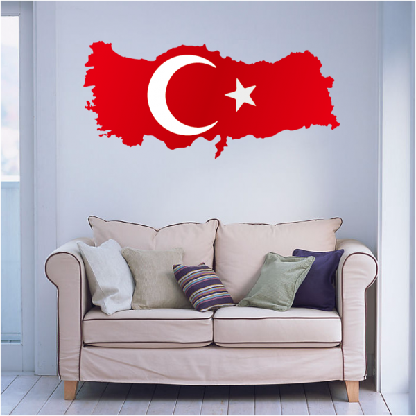 Flag map of turkey wall vinyl sticker custom home decor wedding pvc wallpaper fashion design poster