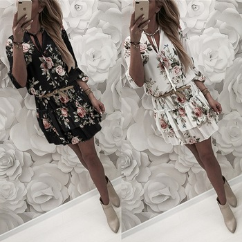 2019 Women Summer Dress Boho Style Floral Print Chiffon Beach Dress Tunic Sundress Loose Mini Party Dress Vestidos Plus Size 2XL 1