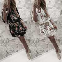 2019 frauen Sommer Kleid Boho Stil Floral Print Chiffon Strand Kleid Tunika Sommerkleid Lose Mini Party Kleid Vestidos Plus Größe 2XL