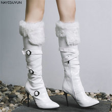 hot deal buy nayiduyun   black white thigh high boots women pointed toe knee high boots slim high heel winter warm party pumps casual shoes