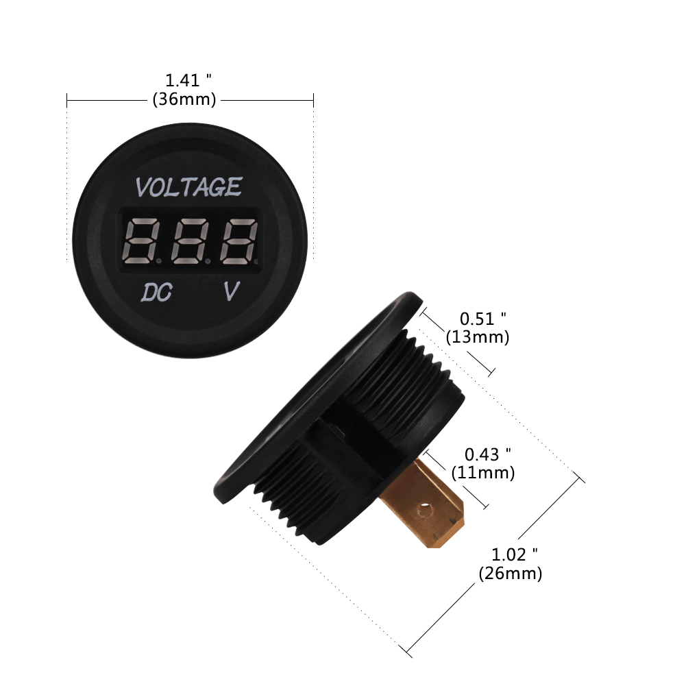 Waterproof Voltage Gauge Meter with Terminals for Boat Marine Vehicle Motorcycle Truck ATV UTV Car with Red Light N A DC 12V 24V Car Voltmeter with LED Digital Display Panel