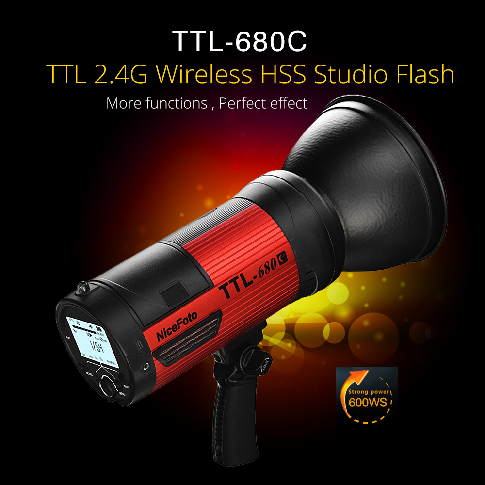 цены NiceFoto TTL-680C 600W TTL 2.4G Wireless GN68 HSS 1/8000S Studio Flash High Speed Speedlite with Transmitter for Canon Camera