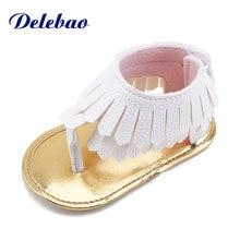 Delebao новый дизайн летние детские сандалии двойная pu кисточка