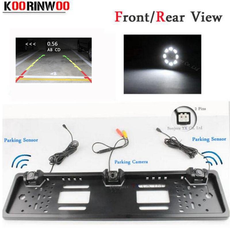 دوربین Koorinwoo EU EU Plate frame frame frame Parktronic Car Rear View دوربین پارکینگ اتومبیل سنسور سیستم تصویری رادارها