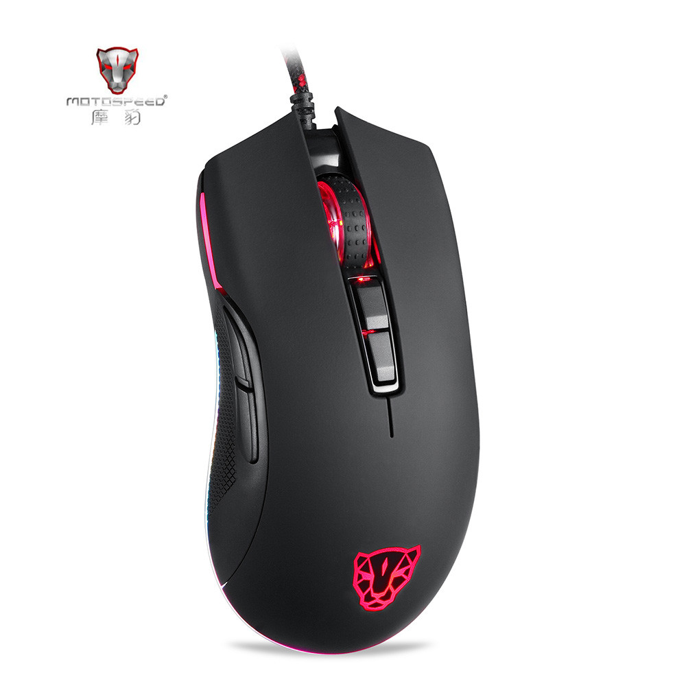 Motospeed V70 Gaming Mouse RGB 12000DPI 7 Key 250IPS Black Mouse LOL Dota USB Wired Player Backlight Mouse with PMW3360 Engine et t6 wired gaming mouse black