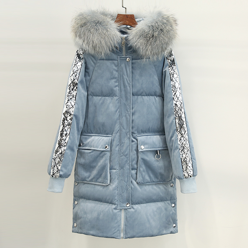 Diwish Fur Collar Hooded Velvet Long Women's   Down   Jacket Sequins Decorated Casual Ladies Winter   Coat   Female Thick Warm Outwear