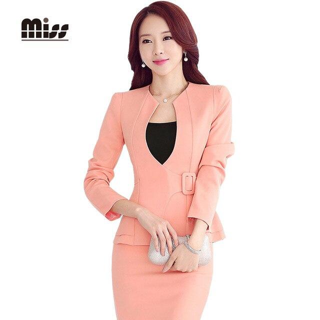 SEÑORITA 2016 Oficina Falda Traje de Las Mujeres el Trabajo Formal Blazer trajes de hombre de Manga Larga de Ladie Elegante Chaqueta de Color Rosa Uniforme DesignsT5B19