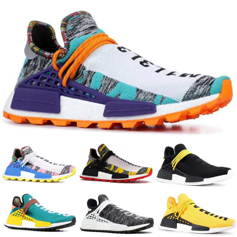 2019 Human Race trail Running Shoes Nerd black cream Men Women Pharrell Williams HU Runner Yellow White Red sports Shoea