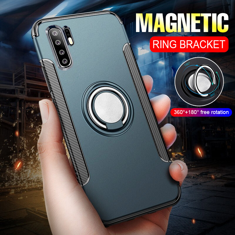 Hybrid Slim Shockproof Magnetic Metal Ring Case On The For Huawei P30 P20 Pro Soft Silicone Cover For Huawei P30 P20 Lite Case