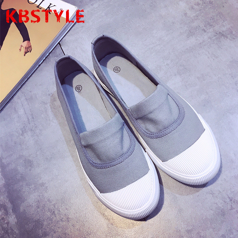 KBSTYLE High Quality Women Canvas Shoes 2017 Spring Autumn Flat Heel Fashion Womens Casual Shoes Ladies Brand Slip-on kbstyle 2017 new spring shoes for women brand pointed toe womens flats fashion young ladies casual shoes hot sale wholesale