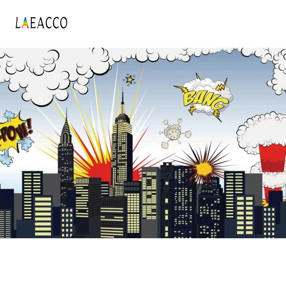 Laeacco Cartoon Super Hero Photography Background Customized Baby Party Family Photocall Photographic Backdrops for Photo Studio in Background from Consumer Electronics
