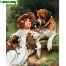 Home Beauty diy oil coloring by numbers acrylic drawing girl and dogs decorative canvas wall picture by number brush paint e433(China)