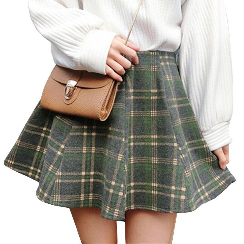 Harajuku Plaid Skirt Women Mini A-Line Skirt British Style Woolen Plaid Skirts Kilt Winter Vintage Wool Umbrella Plaid Skirts