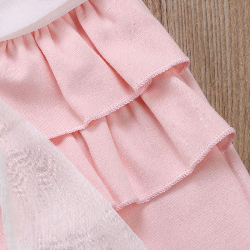 Infant Baby Girl Layered Ruffle Pants Toddler Kid Long Pants Bowknot Casual Bottoms Clothing 6