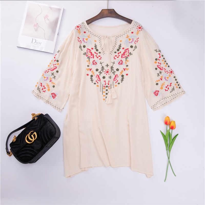 95d214a2cf226 ... Floral Embroidery Tunic Dress Mexican Vintage Hippie Dress 2019 Women  Loose Casual Cotton Boho Mini Beach ...