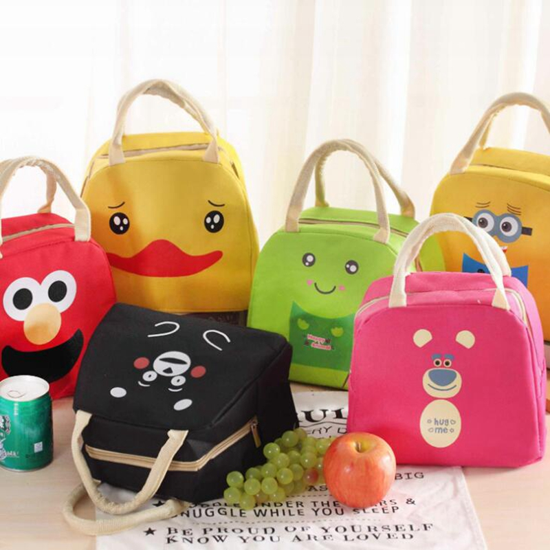 Cartoon Animal Lunch Bag Portable Insulated Cooler Bags Thermal Food Picnic Lunchbox Women Kids Lancheira Lunch Box Tote sannen 7l double decker cooler lunch bags insulated solid thermal lunchbox food picnic bag cooler tote handbags for men women