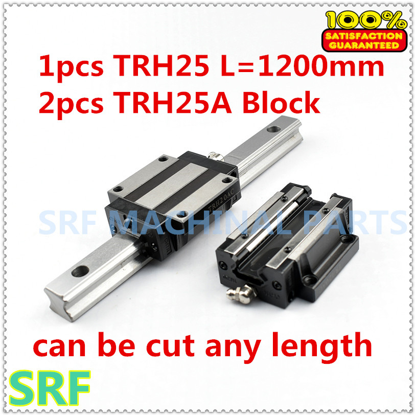 High quality 1pcs Linear guide rail TRH25 L=1200mm Linear rail with 2pcs TRH25A Flange slide blocks for CNC part thk interchangeable linear guide 1pc trh25 l 900mm linear rail 2pcs trh25b linear carriage blocks