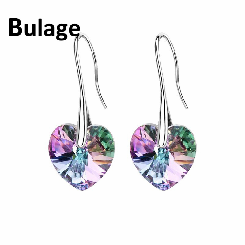Trendy Crystal Heart Drop Earrings Made with Swarovski ELEMENTS Silver Color Hanging Piercing For Women Best Friends Gift