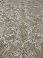 Luxury Handmade beads embroidered net tulle mesh lace fabric for bridal wedding ZH1932408 White women gown lace fabric