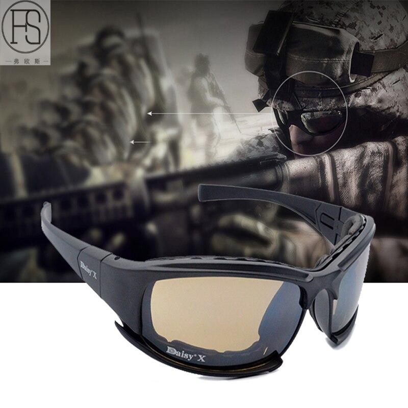 Prix pour Daisy X7 Sport lunettes de Soleil Polarisées Hommes 4 Lentille Militaire Tactique Lunettes Protection Des Yeux Lunettes Gafas Ciclismo Randonnée Lunettes