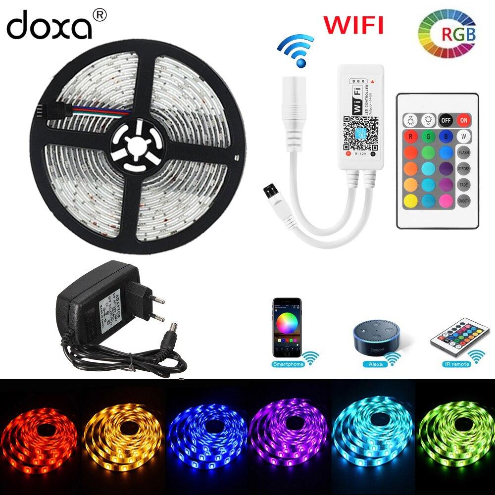 BLYN WIFI LED tira 5050 RGB 5 m 10 m 2 M cinta de diodo resistente al agua TV tiras de luz música Bluetooth IR control remoto fuente de alimentación