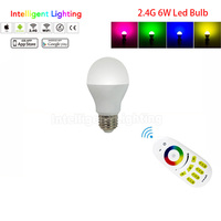 6w E27 RGBW RGB Warm Cold White CCT LED Bulb 1x 2 4G Remote Smart Wireless