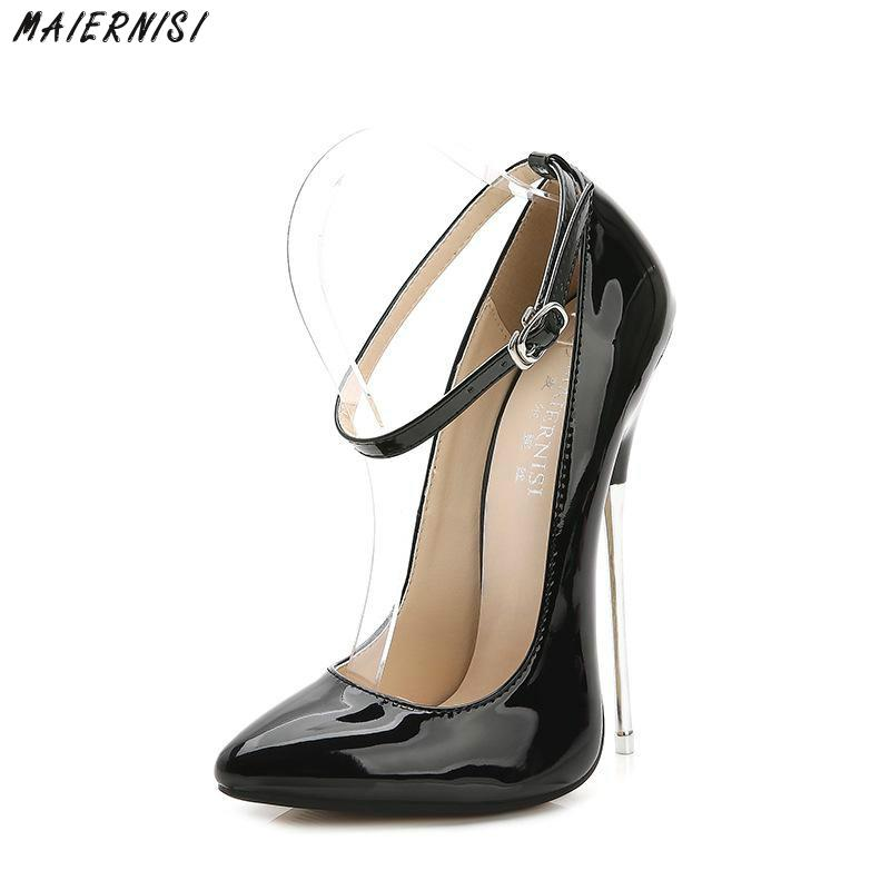 MAIERNISI Sexy Pointed Toe Women Pumps Super High (16cm) Shoes Fashion Woman High Heels Buckle Strap Ladies Shoes Woman Heels