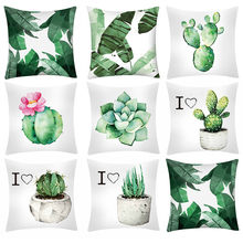 Cactus Banana Leaf Print Claus Cushion Cover Decorative Pillows Cover For Sofa Seat soft Pillow Case 45x45cm Home Decor(China)