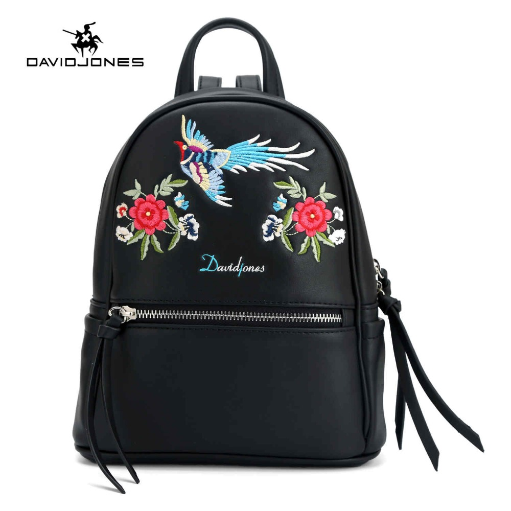 DAVIDJONES women shoulder bags pu leather female backpacks big lady embroidery school bag girl brand softpack drop shipping
