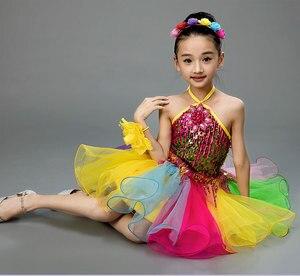 Image 4 - בנות שמלת בלט לילדים ילדה ריקוד ילדים פאייטים בלט תלבושות עבור בנות טוטו ריקוד ילדה שלב Dancewear ביצועים