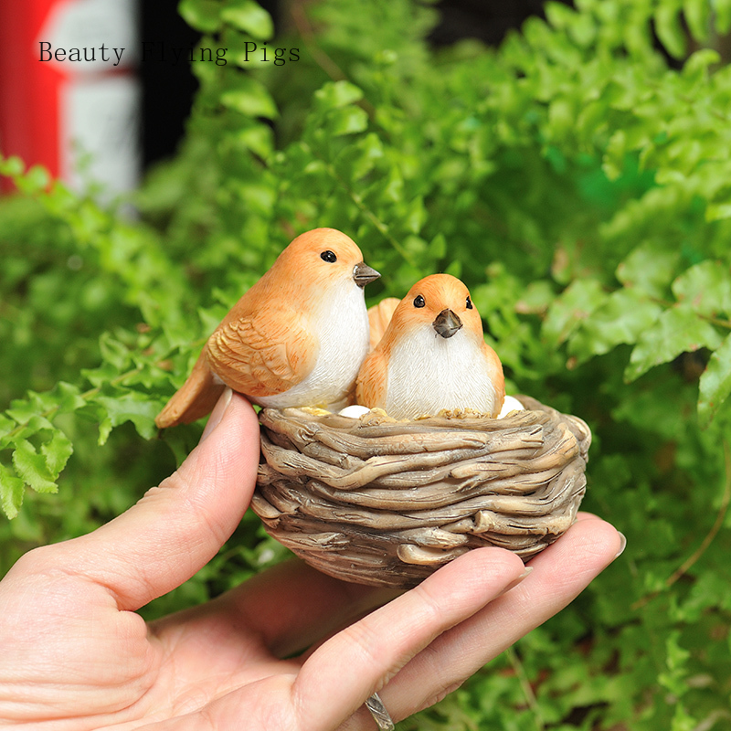 Creative outdoor garden decoration simulation bird cute bird nest balcony flower pot landscape living room TV cabinet decoration(China)