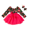 Girls Dress Long Sleeve Cotton Top Boutique 2017 Spring Girl Party Dresses Baby Set For Girls Casual Kids Gown Clothes 2-6Y