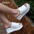 Women Cool summer set toe PU leather slippers 2017 Female high Sponge cake thick soles slippers wedge bottom of white and black